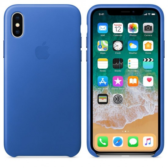 Apple  iPhone X Leather Case MRGG2ZM/A Electric Blue