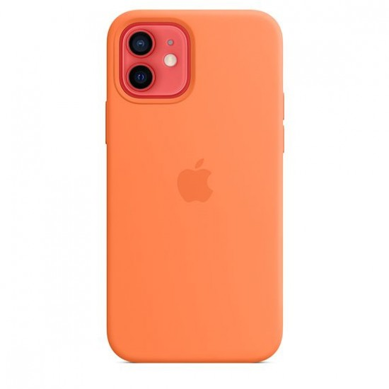 Apple - Silicone Case with MagSafe for  iPhone 12 mini Orange